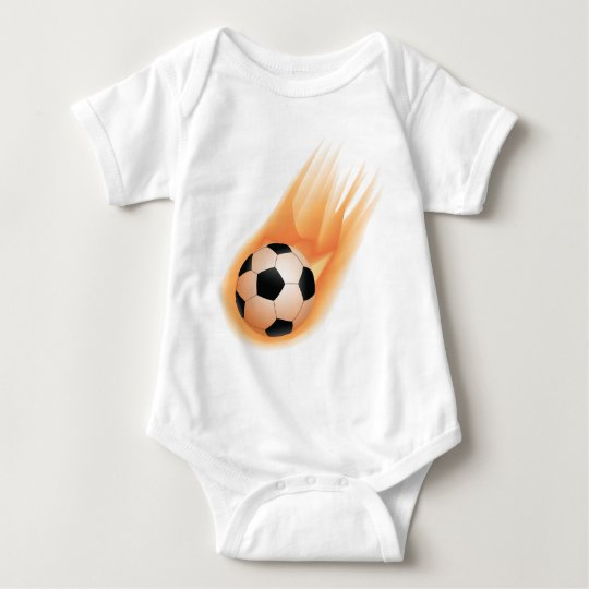 football, soccer ball fire baby bodysuit