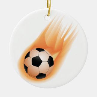 football, soccer ball fire ceramic ornament
