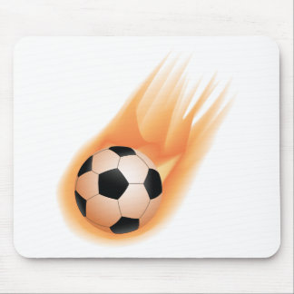 football, soccer ball fire mouse pad