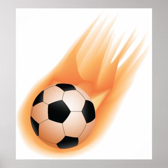football, soccer ball fire poster