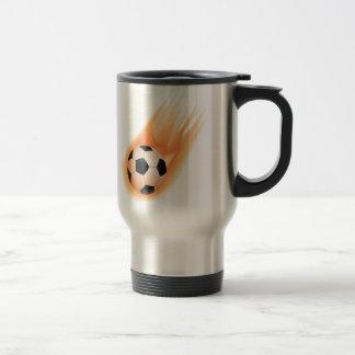 football, soccer ball fire travel mug