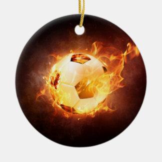 Football Soccer Ball on Fire Ceramic Ornament