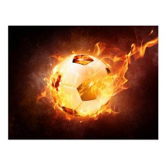Football Soccer Ball on Fire Postcard