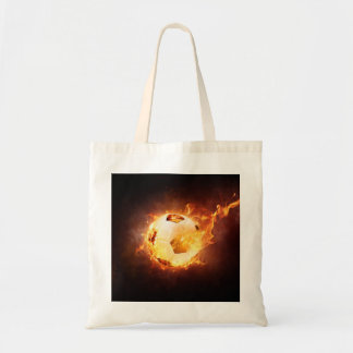 Football Soccer Ball on Fire Tote Bag