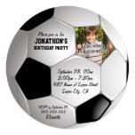Football Soccer Ball Photo Birthday Party 5.25x5.25 Square Paper Invitation Card