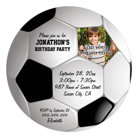 Football Soccer Ball Photo Birthday Party Invitation