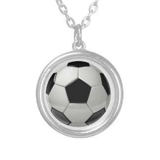 Football Soccer Ball Silver Plated Necklace
