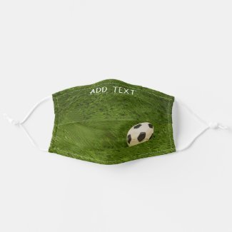 Football soccer on green grass cloth face mask