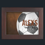 "Football Soccer Player&#39;s Personalized Keepsake Box<br><div class=""desc"">A grunge yet elegant designer keepsake box for football / soccer players with customizable text. Personalize it with your own text or click the &quot;Customize It&quot; button to go to the design tool where you can add text,  change the font,  type size,  type color,  text positioning and more.</div>"