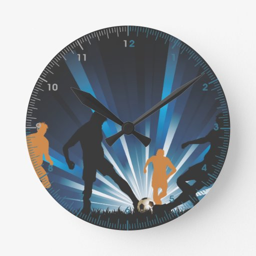 Football Design Wall Clock : Football soccer playing game wall clock zazzle