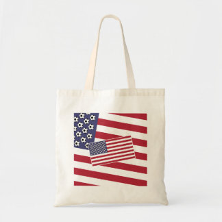 Football Soccer Stars and Stripes Flag Budget Tote Bag