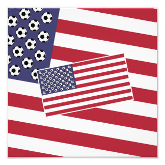 Football Soccer Stars and Stripes Flag Photo Print