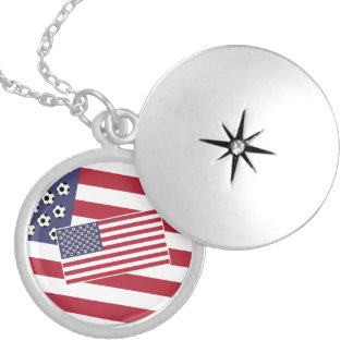 Football Soccer Stars and Stripes Flag Silver Plated Necklace