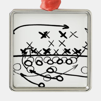 Football Soccer strategy play Diagram Silver-Colored Square Decoration