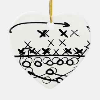 Football Soccer strategy play Diagram Ceramic Heart Decoration
