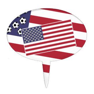 Football Soccer USA Flag Cake Topper