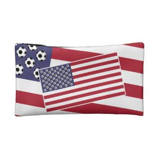 Football Soccer USA Flag Cosmetic Bag