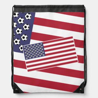 Football Soccer USA Flag Drawstring Backpack