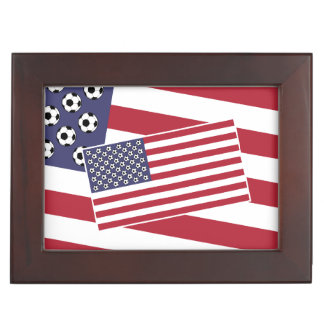 Football Soccer USA Flag Memory Box