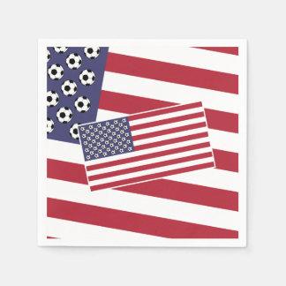 Football Soccer USA Flag Paper Napkin