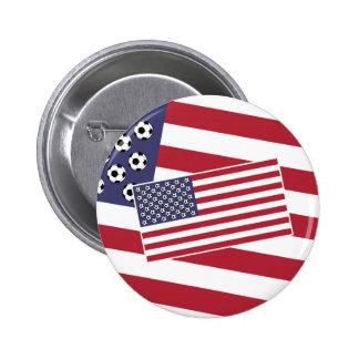 Football Soccer USA Flag Pinback Button