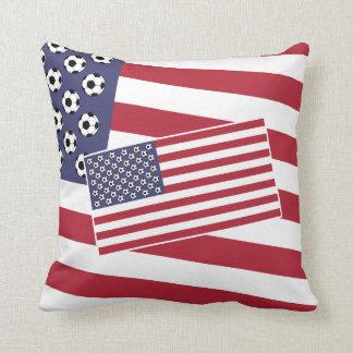 Football Soccer USA Flag Throw Pillow
