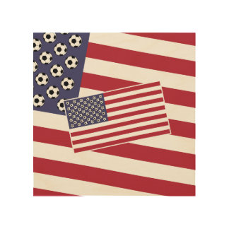 Football Soccer USA Flag Wood Wall Decor