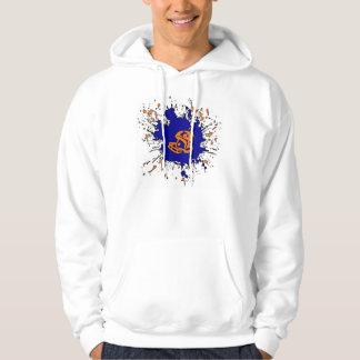 Football splatter orange blue theme guys hoodie