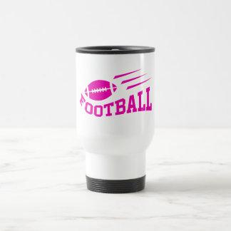 Football sport design - pink print girls or womens travel mug