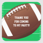 Football Sports Birthday Party Favor Square Sticker