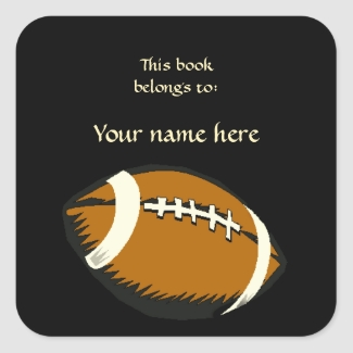 Football Sports Black and Brown Bookplate