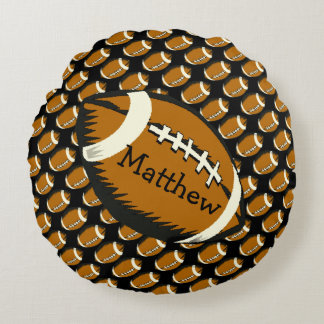 Football Sports Black and Brown Round Pillow