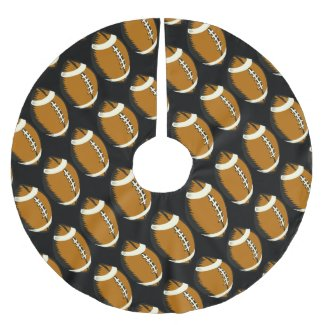 Football Sports Black and Brown Tree Skirt