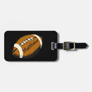 Football Sports Brown and Black Luggage Tag