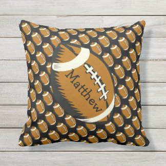 Football Sports Brown and Black Outdoor Pillow