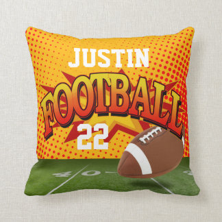 Football Sports Custom Name Number pumpkin orange Throw Pillow