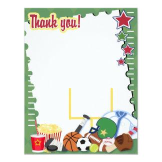 FOOTBALL SPORTS FAN 4x5 Flat Thank you note Card