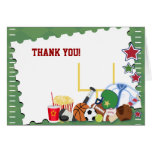 FOOTBALL Sports Fan All Star Folded Thank you note Stationery Note Card