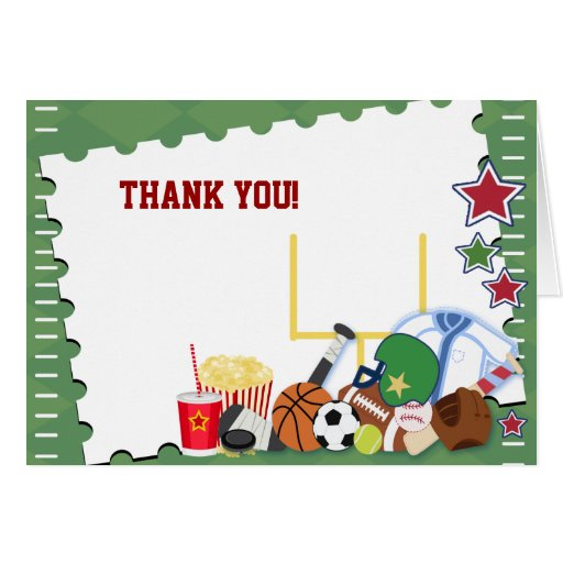 FOOTBALL Sports Fan All Star Folded Thank you note Greeting Cards