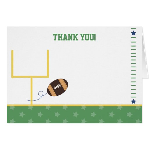 Football Sports Folded Thank you note card