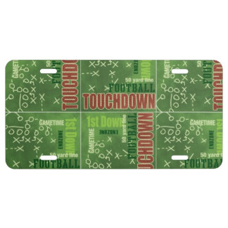 Football Sports Game Touchdown Green and Red License Plate