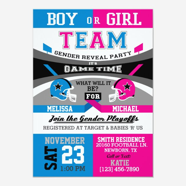 Sports Themed Gender Reveal Invites Templates