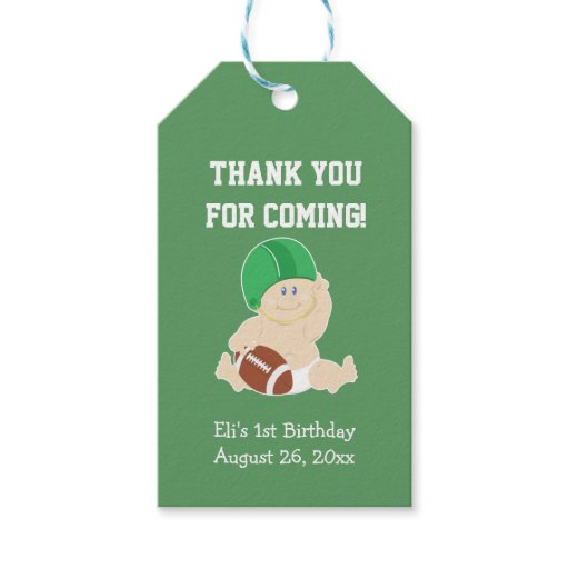 Football Sports Green Gift Tag Boy's Birthday