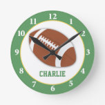 Football Sports Personalized Wall Clock - Green