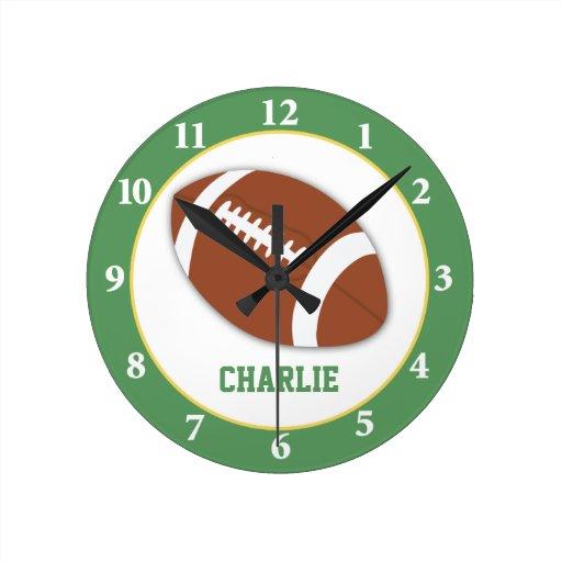 Football Design Wall Clock : Football sports personalized wall clock green zazzle
