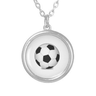 Football sports play games outdoor fun happy kids round pendant necklace