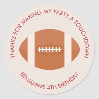 Football Sports Theme Birthday Classic Round Sticker