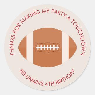Football Sports Theme Birthday Classic Round Sticker