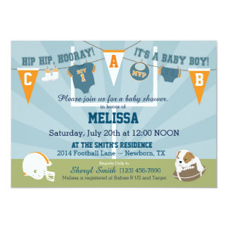 Football Sports Themed Baby Shower Personalized Announcements