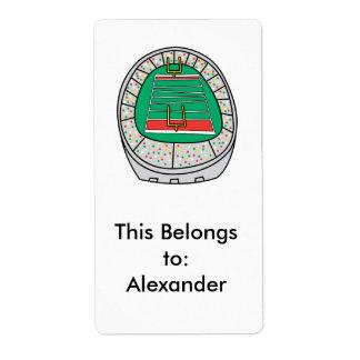football stadium graphic label